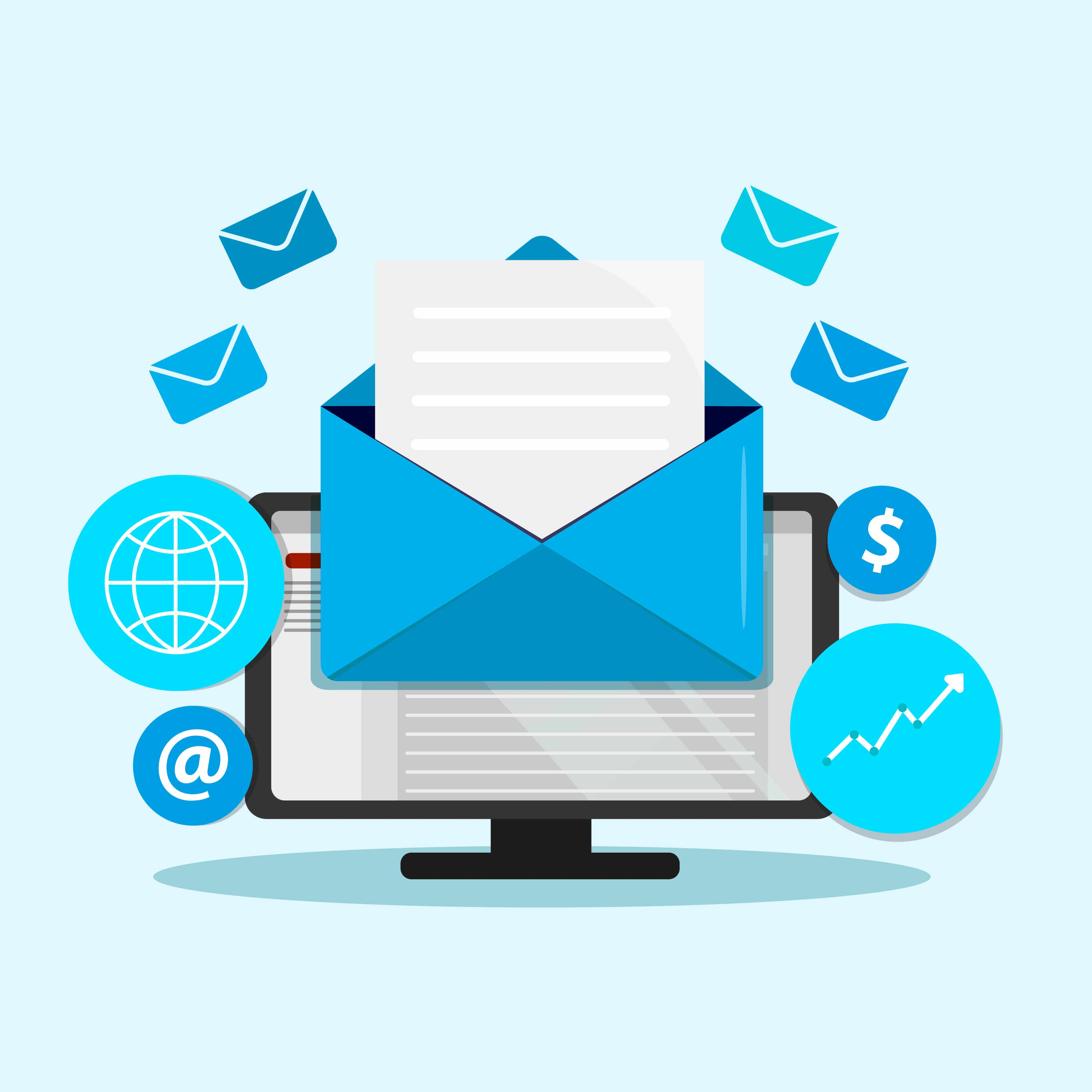 Email marketing campaign  with updates and welcome letters